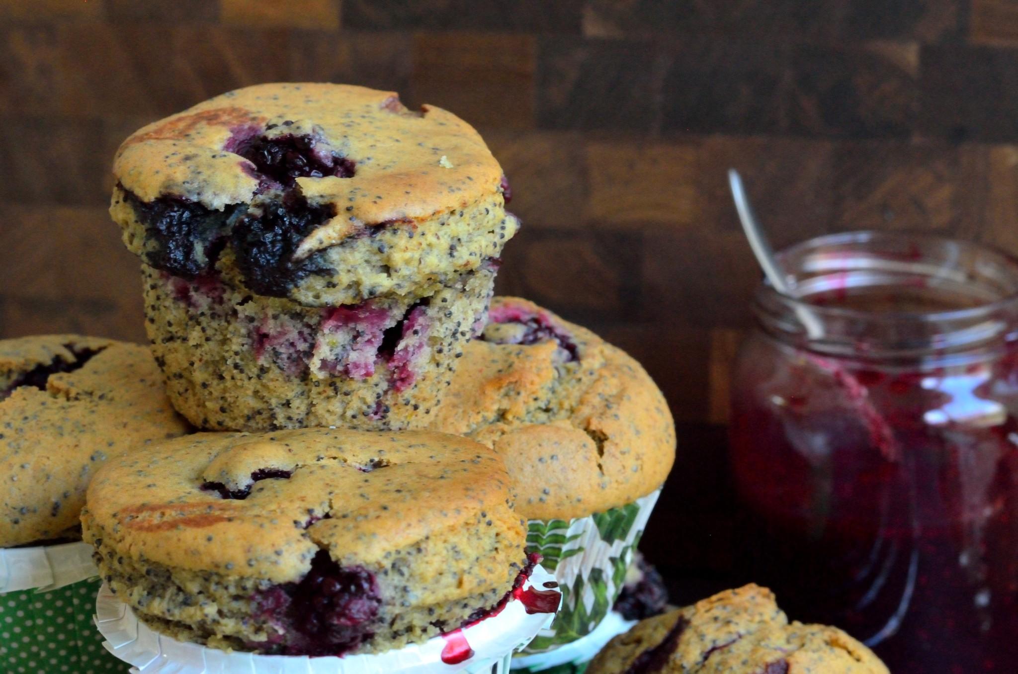 Veganske brombærmuffins med citron og birkes