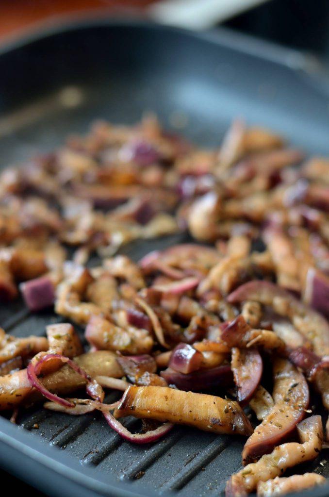Karameliseret auberginefyld til gyros