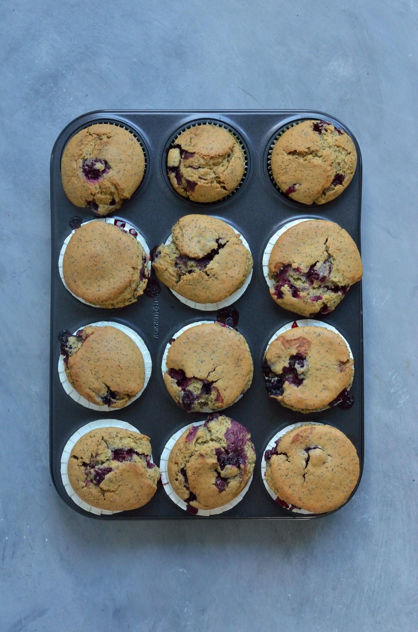 Veganske brombærmuffins efter endt bagetid