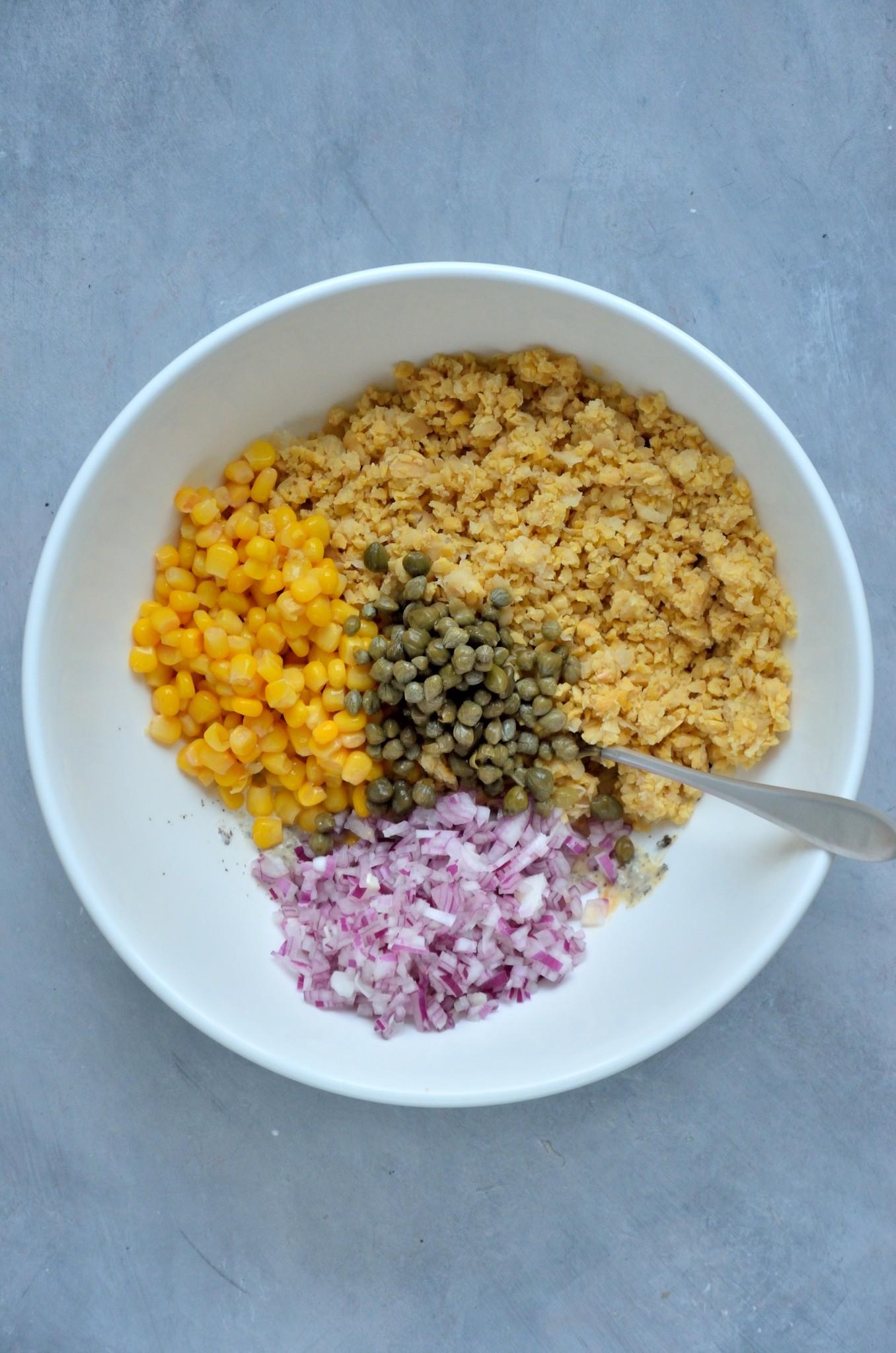 Fremgangsmåde til vegansk tunsalat 3.