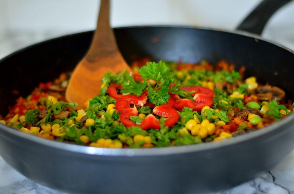 Opskrift på vegansk grøntsagspaella